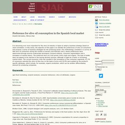SPANISH JOURNAL OF AGRICULTURAL RESEARCH - 2016 - Preference for olive oil consumption in the Spanish local market