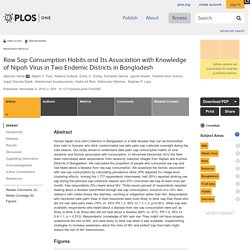 PLOS 09/11/15 Raw Sap Consumption Habits and Its Association with Knowledge of Nipah Virus in Two Endemic Districts in Bangladesh