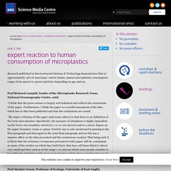 SCIENCEMEDIACENTRE 05/06/19 expert reaction to human consumption of microplastics