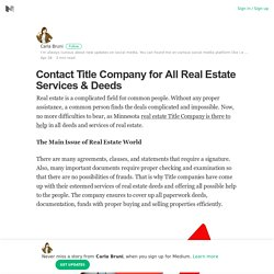 Contact Title Company for All Real Estate Services & Deeds