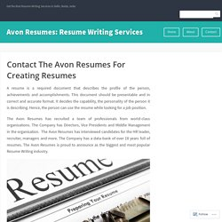 Contact The Avon Resumes For Creating Resumes – Avon Resumes: Resume Writing Services