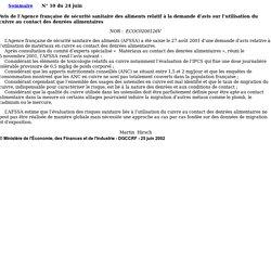 BOCCRF 24/06/02 Avis de l'Agence française de sécurité sanitaire des aliments relatif à la demande d'avis sur l'utilisation du cuivre au contact des denrées alimentaires