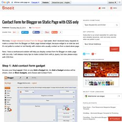 Contact Form for Blogger on Static Page with CSS only