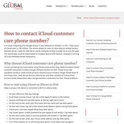How to contact iCloud customer care phone number?