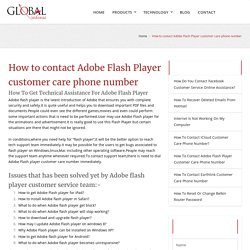 How to contact Adobe Flash Player customer care phone number