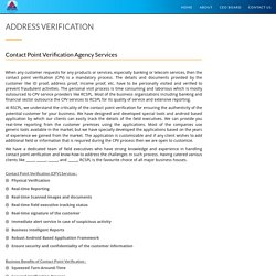Contact Point Verification - Address Verification