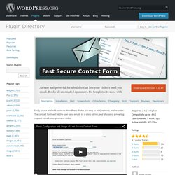 Fast Secure Contact Form — WordPress Plugins