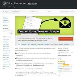 Contact Form Clean and Simple — WordPress Plugins