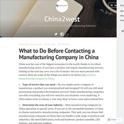What to Do Before Contacting a Manufacturing Company in China