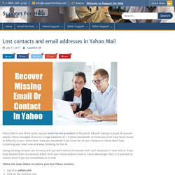 Lost contacts and email addresses in Yahoo Mail