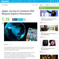 Apple: Access to Contacts Will Require Explicit Permission