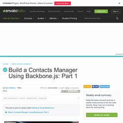 Build a Contacts Manager Using Backbone.js: Part 1