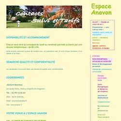 Contacts, suivi, tarifs et inscription - Espace Anavon