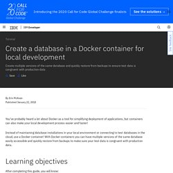 Create a database in a Docker container for local development – IBM Developer