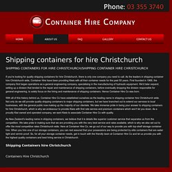 Shipping Containers Hire Christchurch