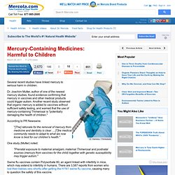 Mercury-Containing Medicines Harm Children