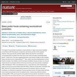 Bees prefer foods containing neonicotinoid pesticides