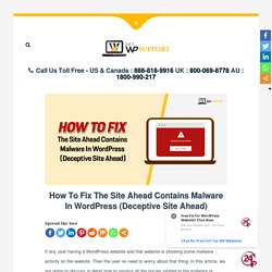 How To Fix The Site Ahead Contains Malware In WordPress websites