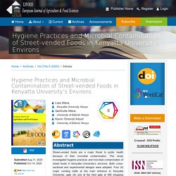 EUROPEAN JOURNAL OF AGRICULTURE & FOOD SCIENCES - 2020 - Hygiene Practices and Microbial Contamination of Street-vended Foods in Kenyatta University's Environs