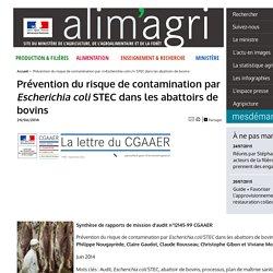 MAAF/CGAAER 24/06/14 Prévention du risque de contamination par Escherichia coli STEC dans les abattoirs de bovins