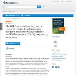 The GM Contamination Register: a review of recorded contamination incidents associated with genetically modified organisms (GMOs), 1997–2013