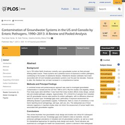 PLOS 07/05/14 Contamination of Groundwater Systems in the US and Canada by Enteric Pathogens, 1990–2013: A Review and Pooled-Analysis