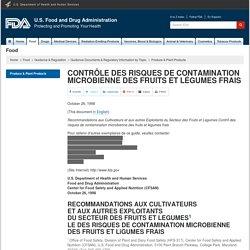 FDA 26/10/98 CONTRÔLE DES RISQUES DE CONTAMINATION MICROBIENNE DES FRUITS ET LÉGUMES FRAIS