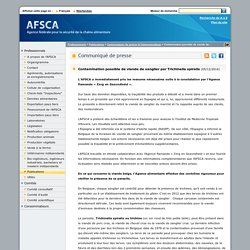 AFSCA 05/12/14 Contamination possible de viande de sanglier par Trichinella spiralis