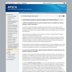 AFSCA 05/12/14 Contamination possible de viande de sanglier par Trichinella spiralis