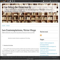Les Contemplations, Victor Hugo - Le blog de thierno ly