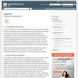 HABITAT - L'habitat contemporain, L'habitat individuel