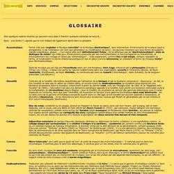 MUSIQUE CONTEMPORAINE - Glossaire