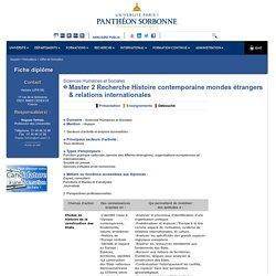 Master 2 Recherche Histoire contemporaine mondes étrangers & relations internationales