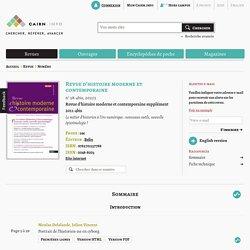 Revue Revue d'histoire moderne et contemporaine 2011/5, Revue d'histoire moderne et contemporaine supplément 2011-4bis
