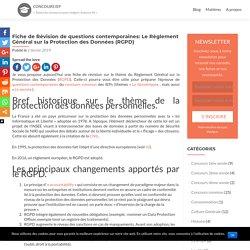 Fiche de Révision de questions contemporaines: Le Règlement Général sur la Protection des Données (RGPD) – Concours IEP