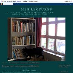 Les auteurs grecs contemporains de ma bibliothèque