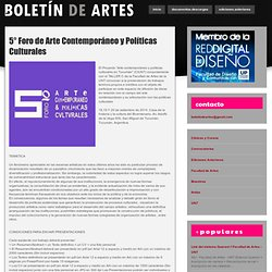 5° Foro de Arte Contemporáneo y Políticas Culturales ~ .