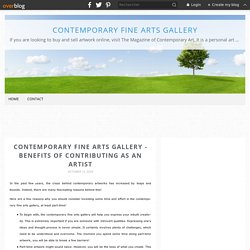 Contemporary Fine Arts Gallery - Benefits of Contributing as an Artist