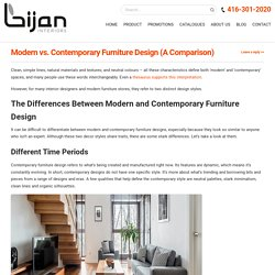 How Contemporary Furniture Designs Differ from Modern Designs
