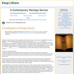A contemporary marriage service
