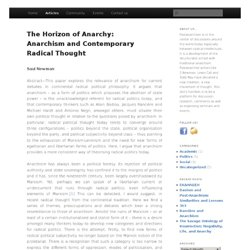 The Horizon of Anarchy: Anarchism and Contemporary Radical Thought
