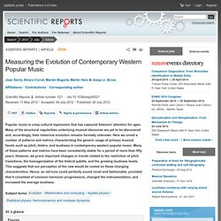 Measuring the Evolution of Contemporary Western Popular Music : Scientific Reports