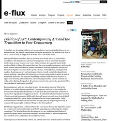 Politics of Art: Contemporary Art and the Transition to Post-Democracy