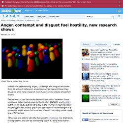 Anger, contempt and disgust fuel hostility, new research shows