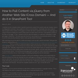 How to Pull Content via jQuery from Another Web Site (Cross Domain)