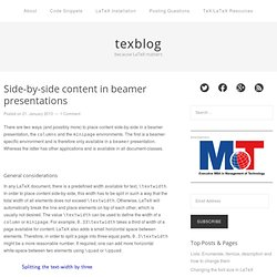 Side-by-side content in beamer presentations « LaTeX Matters