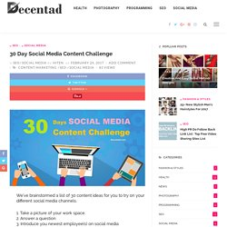 30 Day Social Media Content Challenge - Decentad
