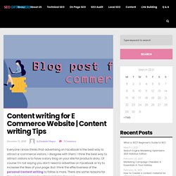 Content writing for E Commerce Website