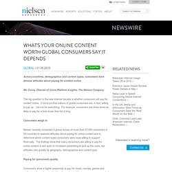 What's Your Online Content Worth? Global Consumers Say: It Depen