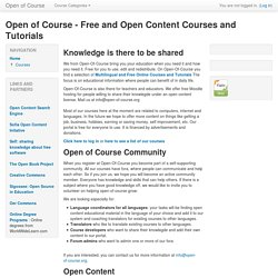 Open of Course - Free and Open Content Courses and Tutorials